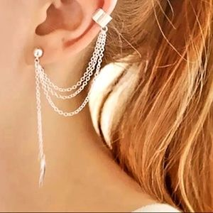 ear cuff drop chain stud earring